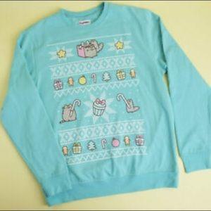 Pusheen Teal Holiday Sweatshirt Sz Medium